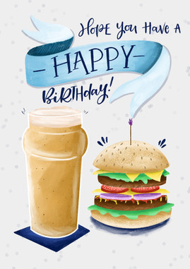 Beer & Burgers Birthday Crad