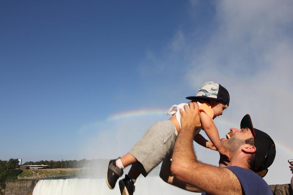 Father and son at Niagara Falls