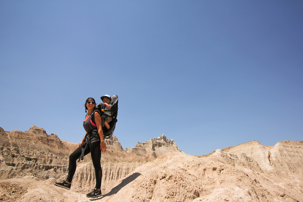 Ma and my toddler in his Deuter Kid Comfort 3 in Badlands National Park with
