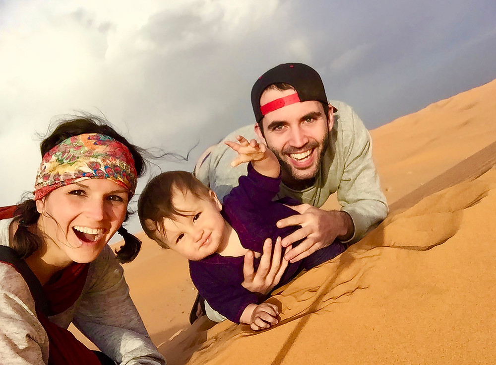 Me, My husband, and our baby son in the Sahara Desert