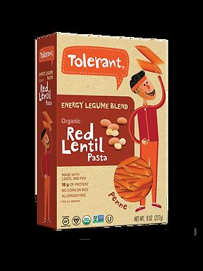 Tolerant red lentil pasta