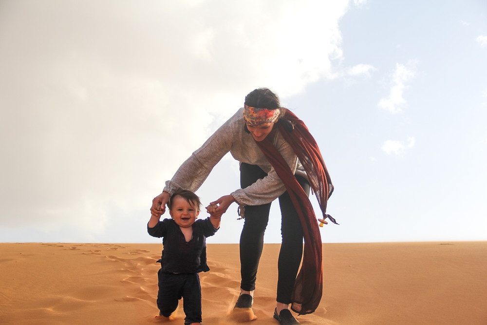 Baby Zay running through the Sahara