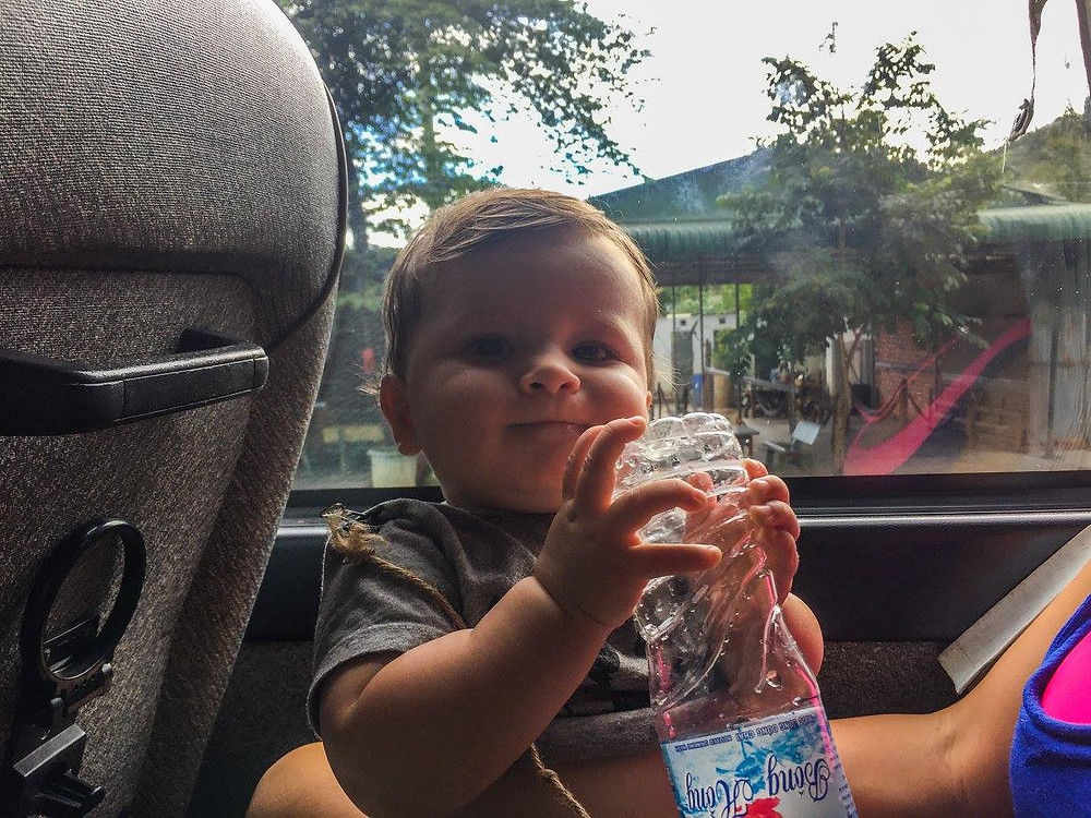 Traveling with a baby on my lap on a bus in Vietnam