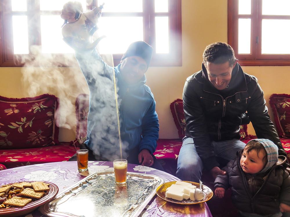 Berber men pouring tea