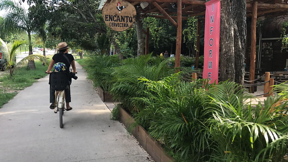 Biking to the beach in Tulum with a baby