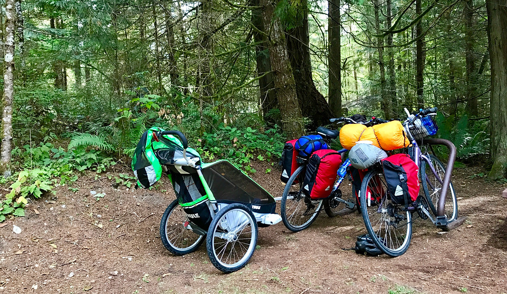Packed up our bikes with our camping equipment and toddler gear