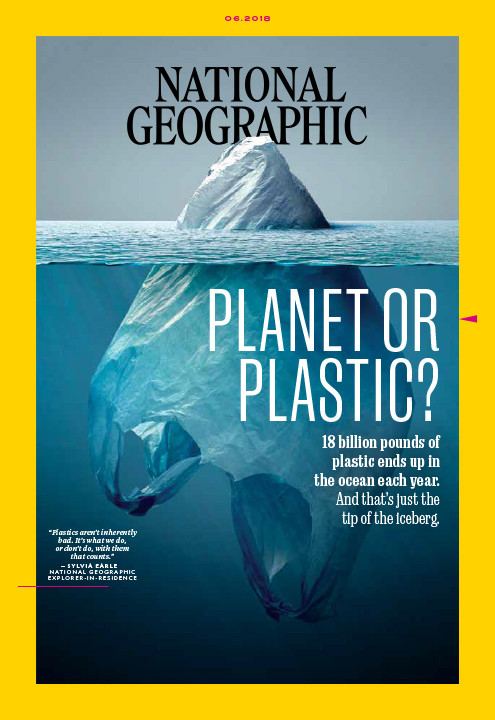 National Geographic cover photo with a plastic bag looking like an iceberg to reduce plastic use