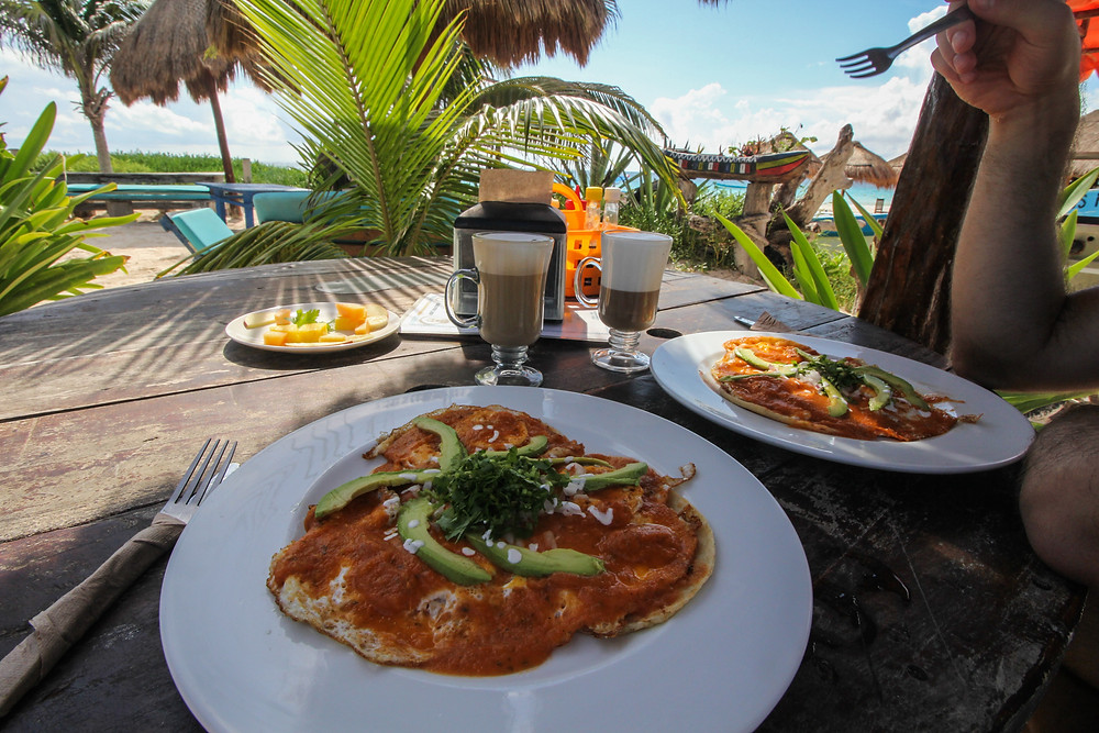 Delicious food at a beautiful beachside restaurant in Tulum