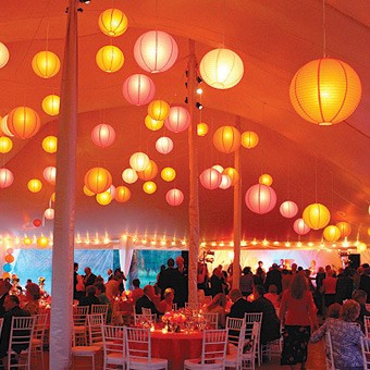 Paper Lanterns Glow In Tent