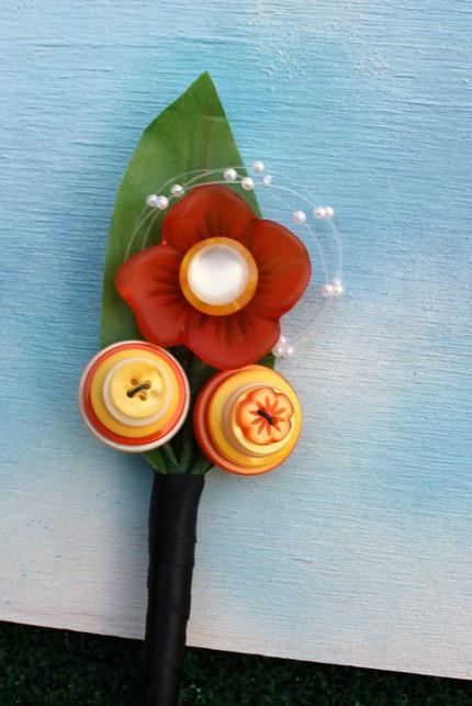 Citrus Sunshine Button Boutonniere - Corsage