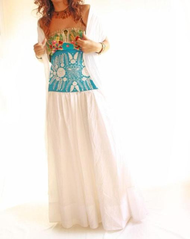Vintage Mexican Embroidered Wedding Dress