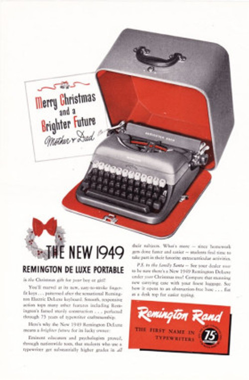 Vintage Advertisement Remington Typewriter, available at  Arcanium Antiques