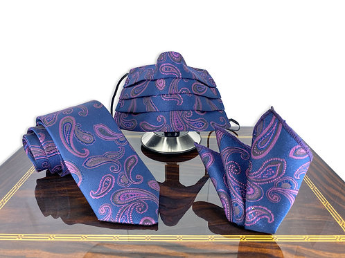 Geoffrey Navy Blue and Purple Paisley