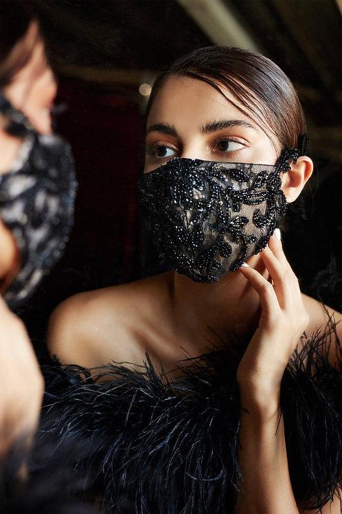 Amalia Couture Beaded Bridal Mask Black over Nude