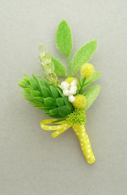 Yellow and Green Boutonniere