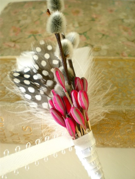 Pussy Willow Boutonniere Hot Pink Mouse