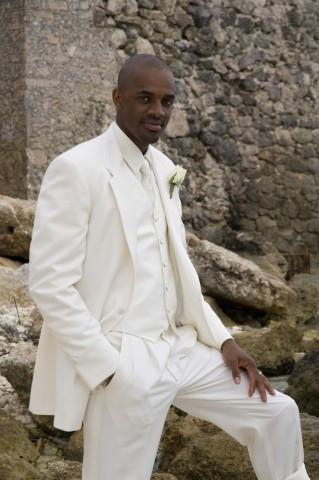 White on White Tuxedo Tres Handsome for Destination Weddings