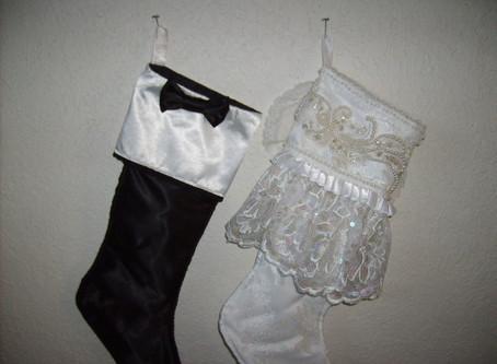 Vintage Bride and Groom Christmas Stockings