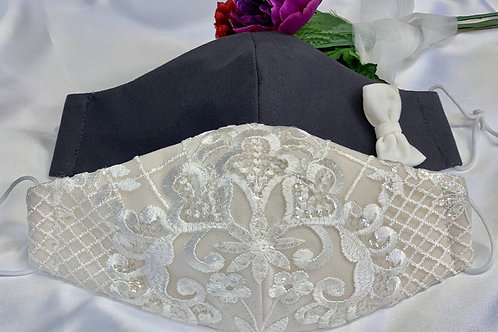 Anisette Ivory Beaded Lace Bridal Mask and Avery Groom's Face Mask