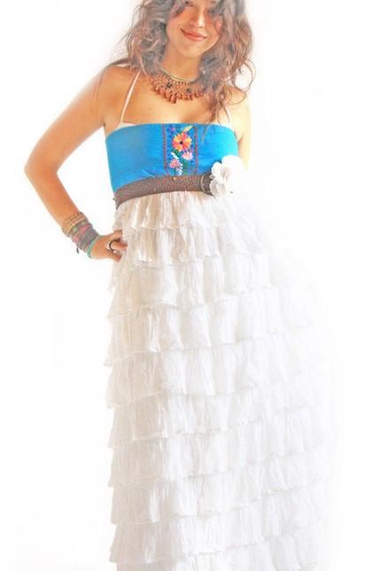 Bohemian Wedding Fiesta Ruffled Gown