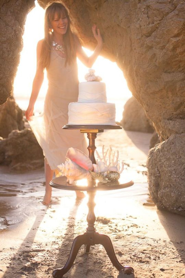 Blush Bohemian Wedding Gown for Destination Beach Wedding