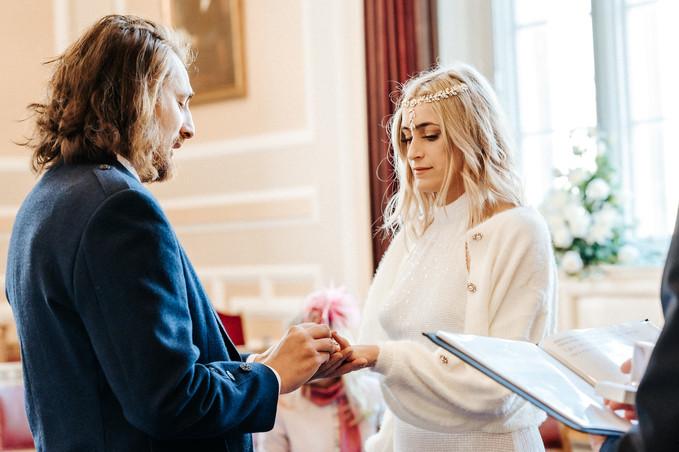 Bride & Groom exchanging wedding rings