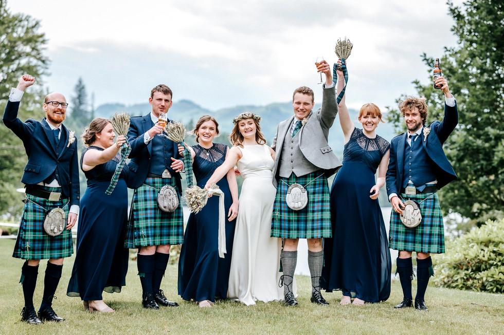 Whoo-Hoo! Bride, Groom, Bridesmaids and Groomsmen