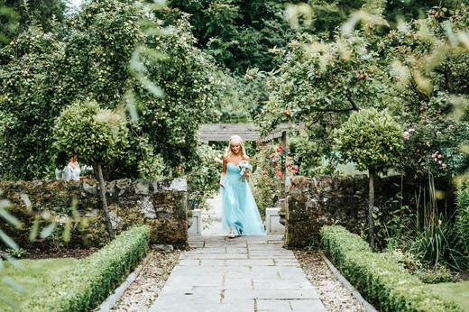 Bridesmaid in garden