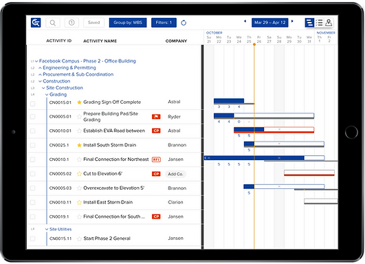 Gantt chart for construction field teams on iPad