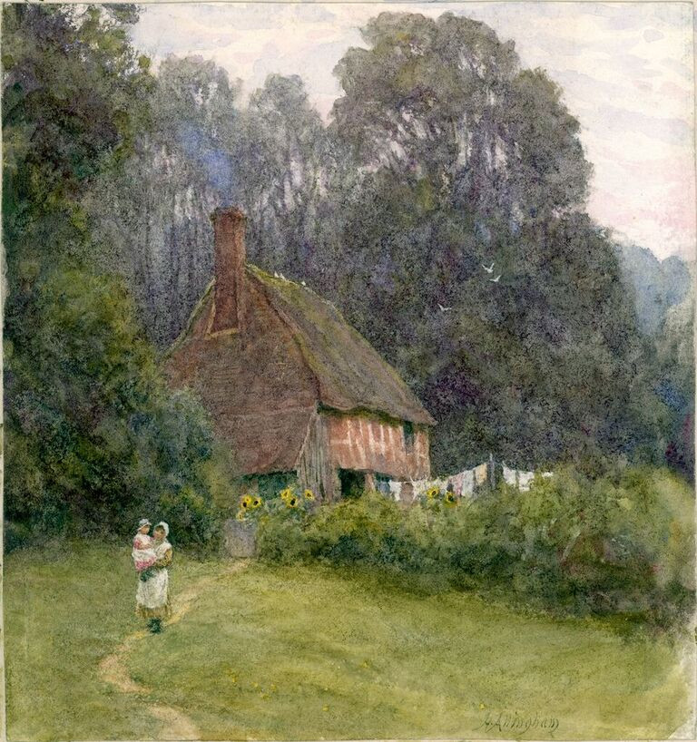 Helen Allingham, 'Cottage with Figures'. Drawing, bodycolour and watercolour on paper._preview