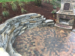 Paver patio, stone wal