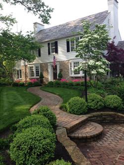 Front yard, flowers, walkway