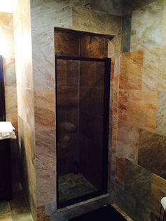 Queen sized room walk in shower at Thompson Hunting Lodge