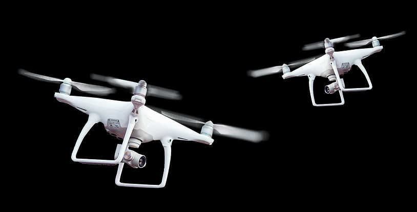 Isolated white drone with twirled propel