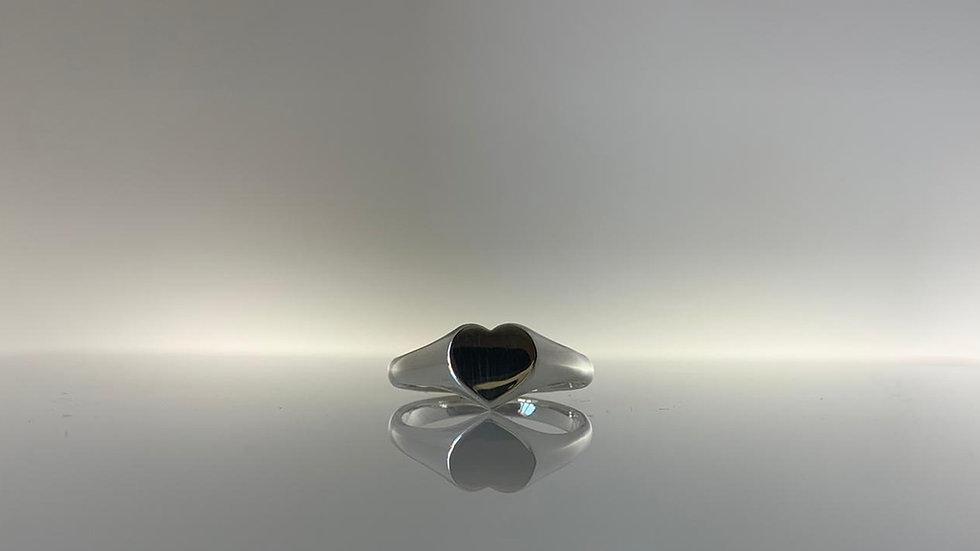 Handmade 925 Silver Solid Heart Signet Ring