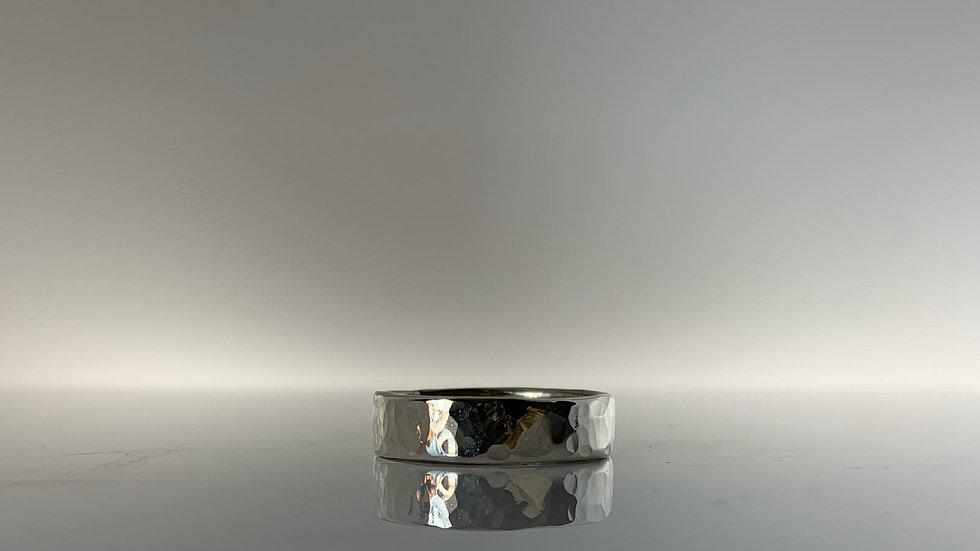 Handmade 925 Silver Hammered Band Ring