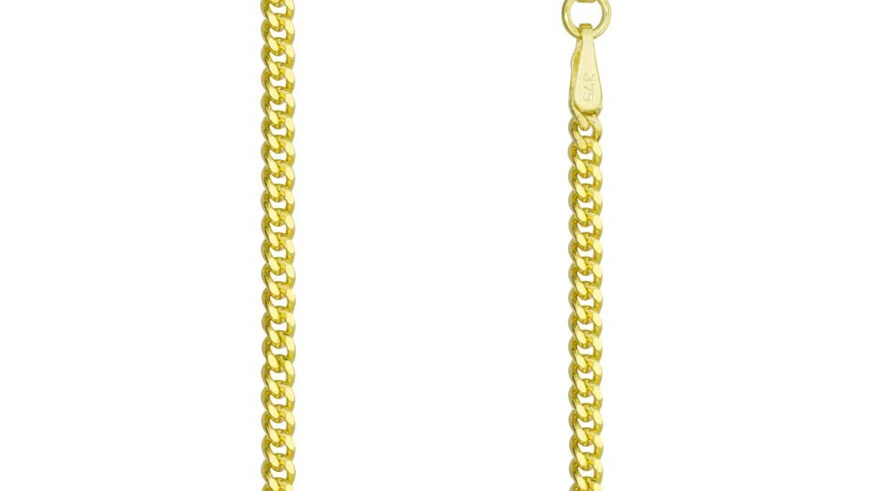Solid 2mm 9ct Yellow Gold Diamond Cut Curb Chain