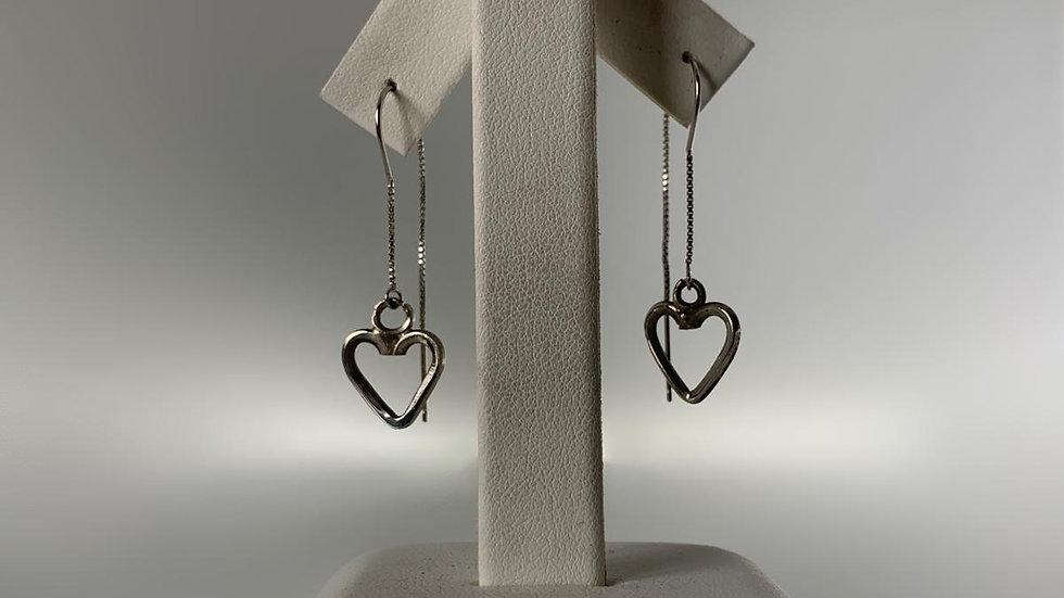 Handmade 925 Silver Heart Dangle Earrings