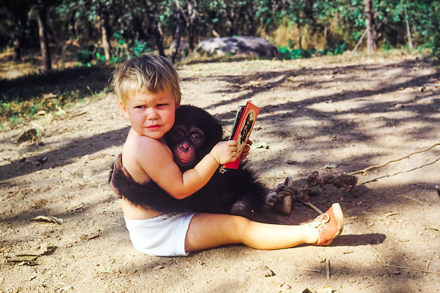 Aunt Jewel and pet monkey, Sammy