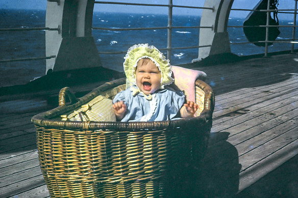 Aunt Jewel (7 months) on the Johan van Oldenbarnevelt while the great Atlantic rocked