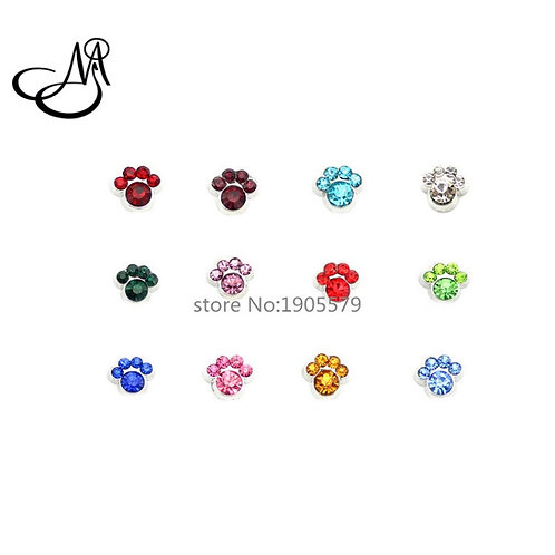 Floating Paw Birthstone Charms