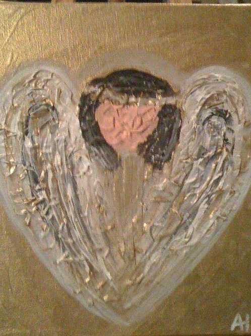 8x10 Angel Heart Duct Tape Canvas Painting