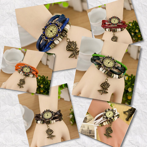 Leather Bracelet Watches with a Rose
