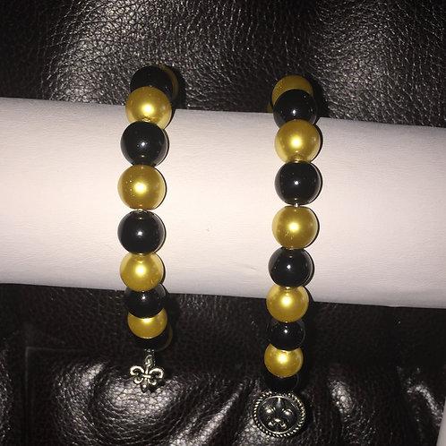 Black & Gold Fleur Di Lis  Bracelet