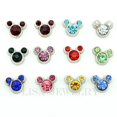 Floating Mouse Birthstone Charms