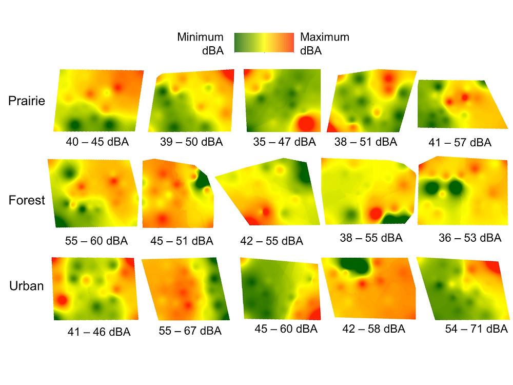 Sounds maps in three habitats