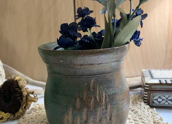 Emerald Green Wheelthrown Handcarved Pot