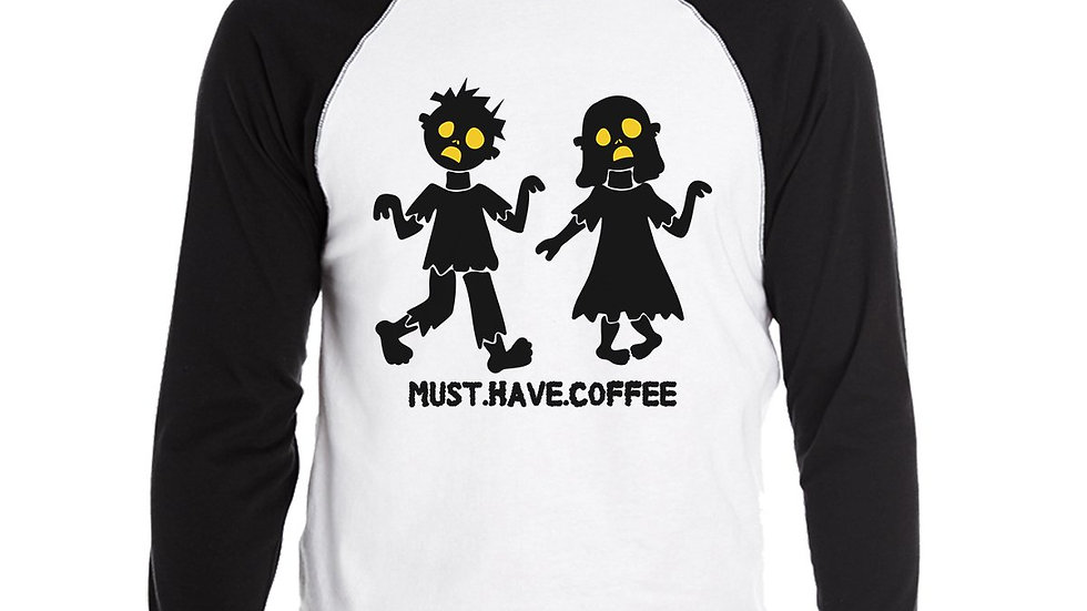 Must Have Coffee Zombies Mens Black and White BaseBall Shirt