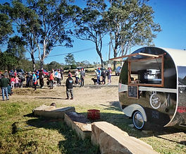 Conscious Coffee vintage caravan set up for the big family day at the Dungog Ultra Trail event.