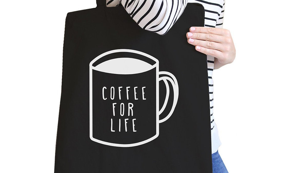 Coffee for Life Black Canvas Bag Cute Graphic Tote for Coffee Lover